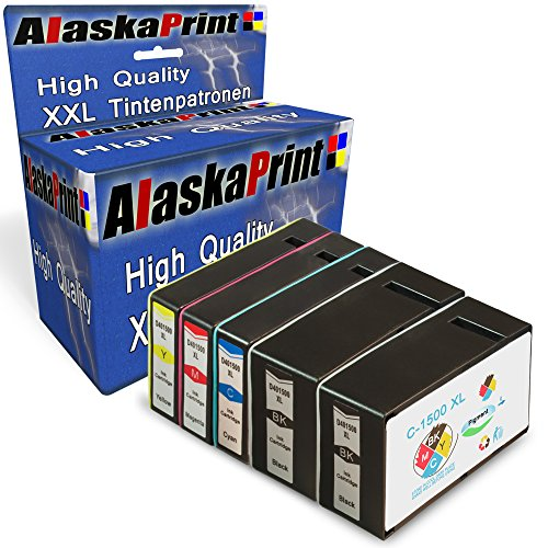Alaskaprint 5er Set Druckerpatronen kompatibel für Canon PGI-1500XL PGI 1500 XL für Canon Maxify MB2000 Series MB2050 MB2350 MB2300 Patronen 5erSet1500