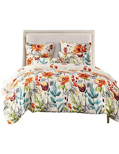FORCHEER Leicht Mikrofaser Bettbezug Set, Floral Print Muster Tagesdecke Überwurf Set, 3Teilig Oversize Quilt Set mit Kissen/Bezügen Twin Pattern #78390 -