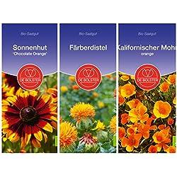 De Bolster Bio Samen | Orangene Blütenpracht | Tolle Bienenweide für den Garten | 3 Packungen Blumen Saatgut