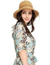 Sevozimda Mujeres Sol Playa Sombrero De Paja Plegable Travel Protección UV Empaquetable Sombreros Cap