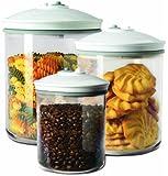Food Saver FSC003-I 3 Piece Round Canister Set 0.7 L, 1.42 L and 2.37 L