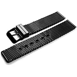 Apple Watch Series 1, Series 2, Edition OKCS 38mm Strap Stainless Steel Milanese accessories Metal Replacement buckle thorn - in Black