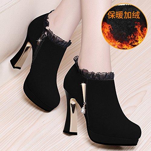 KHSKX-Scarpe Di Cuoio Inverno Di Scarpe Primavera - Tacchi Delle Scarpe Tacco Di 10Cm Spesso Sola Scarpa Femminile Stivali Corti black