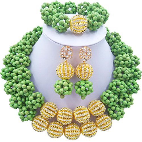 Laanc 2rows Rouge Collier de perles Turquoise et strass Doré du Nigeria africain Bijoux Femme Définit Grass Green and Rhinestone Gold