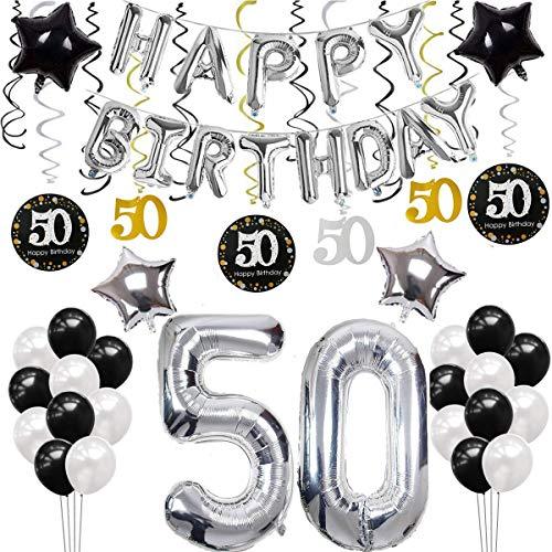 SANCUANYI 50 Geburtstag Dekoration, Silber und Schwarz Deko 50. Geburtstag, Happy Birthday Ballons Banner für Männer und Frau (Happy-birthday-banner 50)