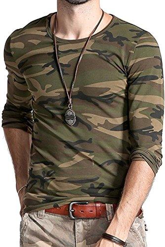 LionRoar Men's Army Round Neck Full Sleeve Camouflage T Shirts for Men (Medium (38))