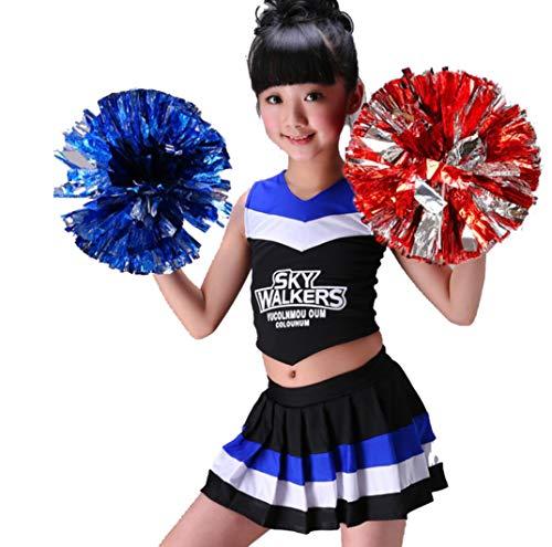 SMACO Mädchen Cheerleader Kostüm Uniform Cheerleading Kinder Kleid Outfit,Black,120CM (Black Cheerleader Kostüm)