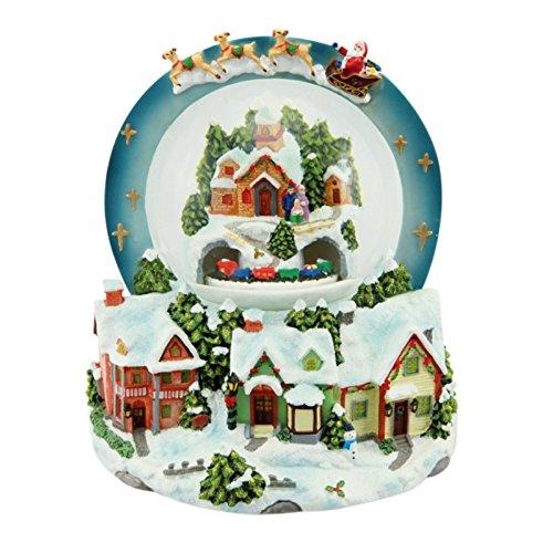Spieluhrenwelt Unisex-Schmuckkasten Wintry Village Scene Snow Globe On Which Santa Flying In His Sleigh 800 Silber mehrfarbig-54053 (Bell Von Santas Schlitten)