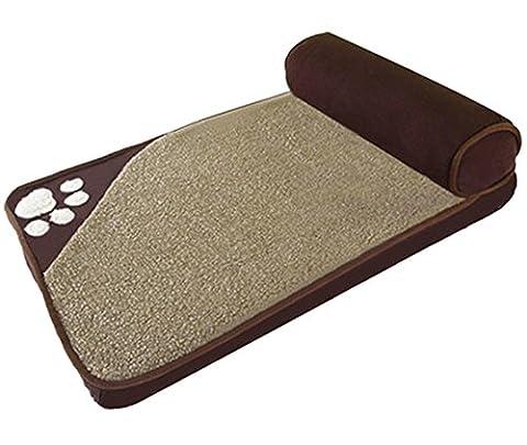 ZSY Grand lit pour chien, canapé matelas pour matelas pour animaux de compagnie, 4 taille pour petit petit chien moyen, toute laine mechée détachable , brown , xl