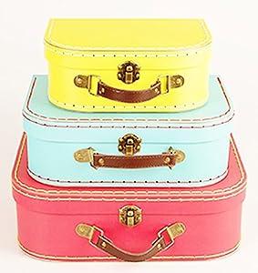 Retro Suitcase Set Of 3 Bright