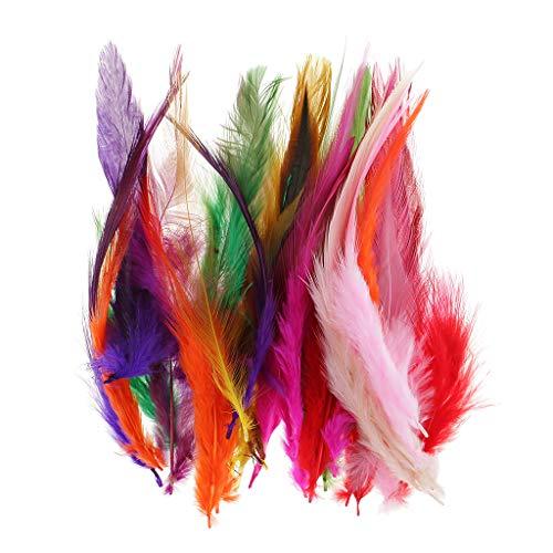 IPOTCH 30 Stück Bunte Hahnenfedern Flügelfedern Hahn Federn Feather Schmuckfeder zum Basteln Dekorieren Grün Blau Orange