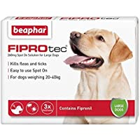 Beaphar® FIPROtec® Kill Flea Ticks Spot On Drop Treatment Protection for Small Medium Large XL Dogs Puppies (3 Treatments, Dog (Large 20-40kg))