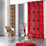 Douceur d'Intérieur ODYSSEE Ösenvorhang Polyester bedruckt 240 x 140 x 0,1 cm, Polyester, rot, 240x140x0.1 cm