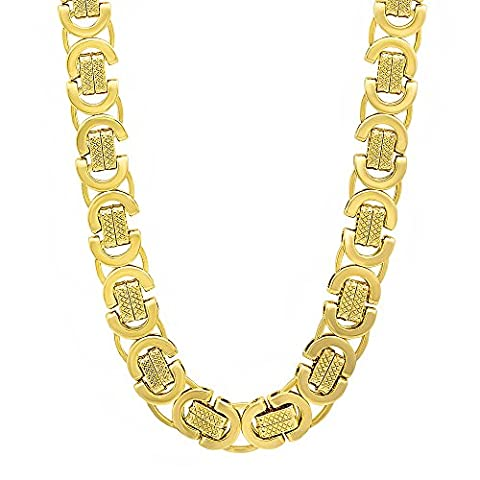 9mm 14k Gold Plated Byzantine Chain Necklace, 76 cm