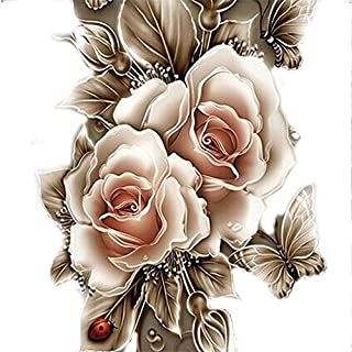 Kingko® Retro Rose Flower 5D Diamond Painting Embroidery DIY Paint-By-Diamond Kit Home Wall Decor 10 x 10 Inch (Gold)
