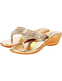 Footshez New Arrival Best Hot Selling Women's Golden Wedge Heel Party wear Slippers Low Price Sale