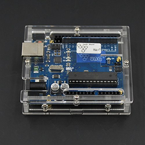 DASEXY Scheda di Sviluppo ATMEGA328 Uno R3 con Custodia Protettiva per Arduino - Blu + Trasparente Modulo