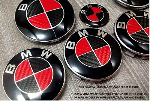 Price comparison product image RED & BLACK CARBON FIBER BMW Badge Emblem Overlay HOOD TRUNK RIMS FITS ALL BMW