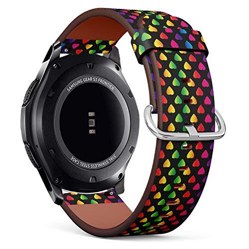 Art-Strap Kompatibel mit für Samsung Gear S3 Frontier/Classic - Leder-Armband Uhrenarmband Ersatzarmbänder mit Schnellverschluss (Heller Regenbogen farbige Herzen an)