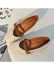 Palabra Coreana Hebilla Zapatos Retro Grueso Con La Abuela Con Poca Boca Square Zapatos,Eu36,Medidor De Albaricoque
