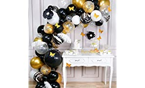 PartyWoo Gold Black Balloon Arch Kit, 98 pcs of 5 White Feathers, 2 Paper Flowers, 10 Gold Butterflies, Giant Black Balloon, Marble Balloons, White Gold Confetti Balloons, Black Gold Metallic Balloons