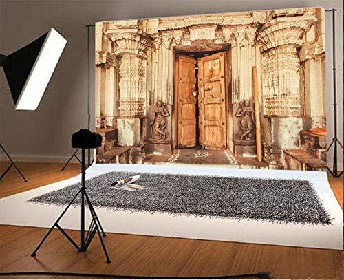 EdCott 8x6.5FT Vinyl Hintergrund Fotografie Hintergrund Traditionellen Stil Design Historischen Hindu-Tempel mit Säulen Holztür Skulpturen Indien Hintergrund Personal Shoot Fotostudio Prop -