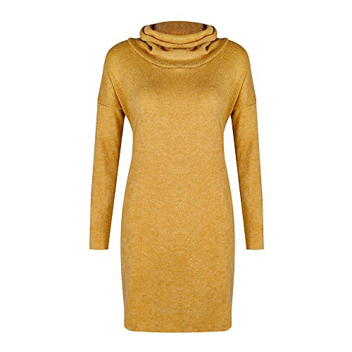 IMJONO Rock Fashion Women Solid Turtleneck Sweater Long Casual Long Sleeve Pullove Dress(X-Large,Gelb)