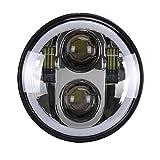 PPSAERTE® 5 3/4 '' Harley Davidson Daymaker faro principale da 5,75 pollici con luce bianca DRL RGB Halo Bluetooth Modalità musicale 40W H / L fascio nero / argento , Silver