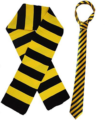 Kostüm für Kinder-Schule der Magie: Set-Krawatte gestreift und Schal in Pendant für kleine Zauberer und Hexen taglia unica BLACK & - Der Wiz Kostüm