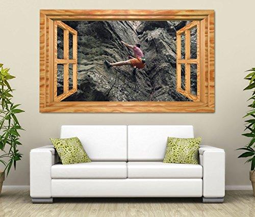 3D Wandtattoo Freeclimbing Felsen Klettern Extrem Fenster Wandbild Tattoo Wohnzimmer Wand Aufkleber 11L1823, Wandbild Größe F:ca. 140cmx82cm
