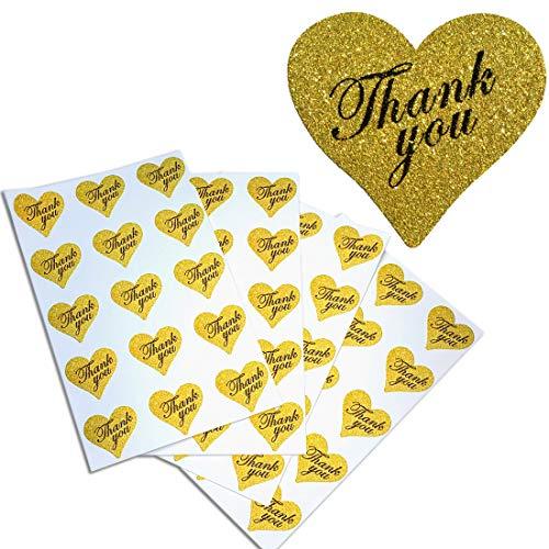 Herzförmiger Tasche (Thank You Aufkleber Gold Herzen Glitzer perfekt für Favor Taschen-herzförmige Etiketten für Verschließen Umschläge und Karten von Royal grün 150 Gold-Glitter)