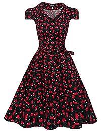 Zeagoo Damen Vintage 50er Jahre Kleid Swing Rockabilly Cocktailkleider Partykleider Sommerkleider Kurzarm mit Gürtel