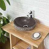 wohnfreuden Naturstein - Waschbecken Steinwaschbecken oval 30 cm für Gäste WC Bad | Einzeln fotografiert & Auswahl aus Bildergalerie