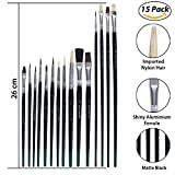 #4: Mont Marte Artist Professional Paint Brush Set, Wooden Long handle Brush, Oil Acrylic Watercolor, 15 Piece Set, Black Handle