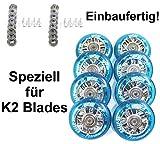 Hyper 4er/8er NX-360 Speed-Rollen Set 80mm / 84a für K2 Skates nur Rollen oder Inlinerrollen fertig montiert - Einbauen losfahren incl. Rollen + Kugellager ABEC 7 +Spacer 6mm ...