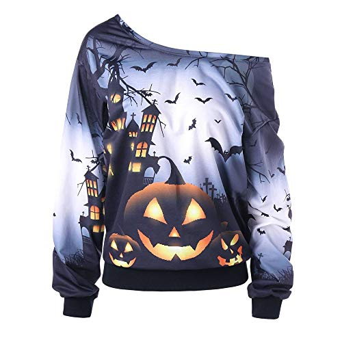 Calvinbi Helloween 3D Tshirt Langarm mit Kürbis Geist Damen Pulli Schwarz Pullover Schulterfrei Oberteil Lose Fit Casual Sexy Tops Bluse Off Shoulder Sweatshirt Langarmshirt Plus Size