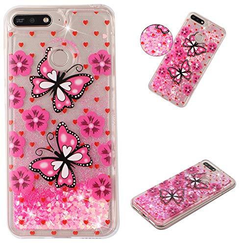 Miagon Flüssig Hülle für Huawei Y6 2018,Glitzer Weich Treibsand Handyhülle Glitter Quicksand Silikon TPU Bumper Schutzhülle Case Cover-Rosa Schmetterling