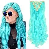 Clips Cheveux Extension Curly [ 8 Pièces 18 Clips ] Pose & Dépose Facile [60CM][Bleu d'Azur]
