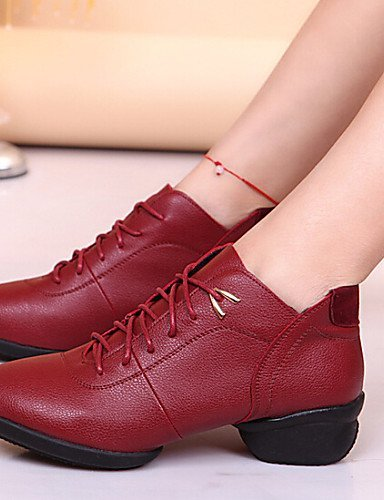 ShangYi Chaussures de danse ( Noir / Rouge ) - Non personnalisable - Talon bas - Cuir - Baskets de Danse / Moderne Black