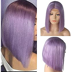 Brazilian Virgin Human Hair Short Bob Wigs Slightly Bleached Knots Straight Glueless 180% Density Lace Front Wig For Women (12inch, light purple)