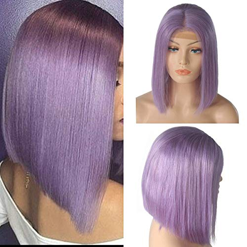 an Hair Short Bob Wigs Slightly Bleached Knots Straight Glueless 180% Density Lace Front Wig For Women (12inch, light purple) ()