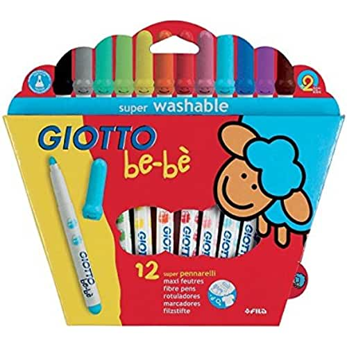 jirafa kawaii para colorear y mas Giotto be-bè 466700 - Estuche 12 rotuladores súper lavables, punta bloqueada que no se hunde (tapón ventilado y capuchón posterior de seguridad)