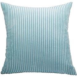 """Nicetage - Funda para almohadas o cojín (de pana, con rayas, decoración para el hogar), Pana, azul, 18"""" x 18""""(45CM x45CM)"""