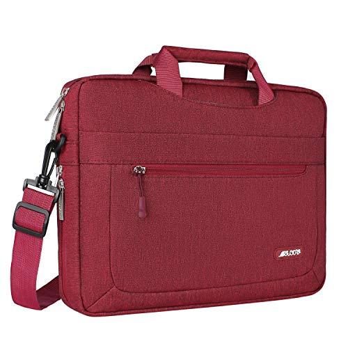MOSISO Umhängetasche/Laptoptasche Kompatibel 17-17,3 Zoll MacBook/Notebook/Chromebook/Tablet, Polyester Laptop Beweglicher Schulter Beutel mit Verstellbarer Tiefe an der Unterseite, Weinrot