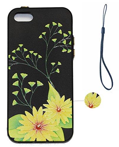 Hülle für iPhone SE 5 5S 5G, Schwarz Silikon Schutzhülle für iPhone SE 5 5S 5G Case TPU Bumper Handyhülle, Cozy Hut ® [Thin Fit] [Schock Absorption] Soft Flex Silikon Schlanke Hülle [Schwarz] Premium  Gelbe Chrysantheme