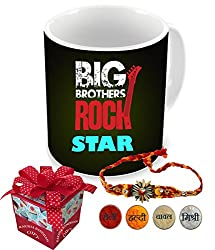 Big Brother Rock StarAart Happy Raksha Bandhan | rakshabandhan gift for brother | rakhi gift for sister | gift for rakshabandhan | gift for rakhi Superior quality Ceramic Mug Capacity: (350 ML) for Raksha Bandhan Gifts.