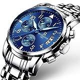 Reloj de cuarzo para hombre, reloj multifunción de acero con luz nocturna/calendario/cronógrafo/resistente...