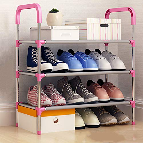 Qinqin666 Shoe Stand Storage Organiser Rack Lightweight Compact Rose Red 3 Layers
