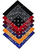 Harrys-Collection Bandana Bindetuch 100% Baumwolle (1 er 6 er oder 12 er Pack), Farbe:Sortiment 2