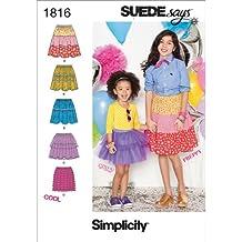 Simplicity Pattern 1816 Suede Says - Patrones de costura para faldas infantiles (varias talas)